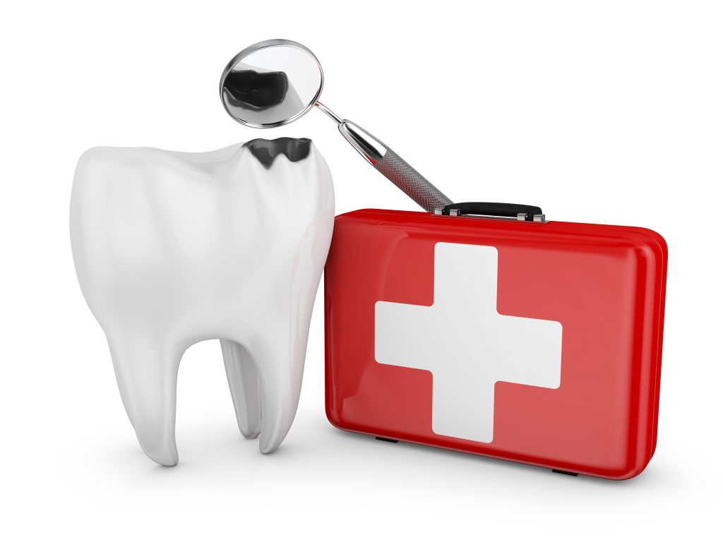 a cracked tooth and an emergency medical kit
